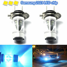 2X H7 Car 8000K Ice Blue 60W Samsung 2323 LED Fog Light 12-SMD Driving Bulbs DRL