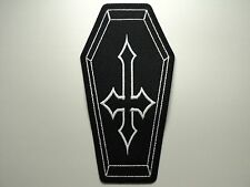 COFFIN INVERTED CROSS EMBROIDERED PATCH