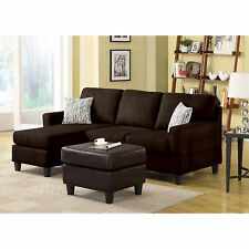 Vogue Sofa Microfiber Reversible Chaise Sectional Couch Furniture Chocolate