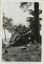 PHOTO ANCIENNE - VINTAGE SNAPSHOT - VOITURE CAMION ACCIDENT-TRUCK CAR CRASH BUS