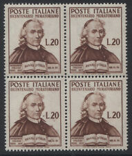 ITALY- 1950 MURATORI 20L IN BLOCK OF 4 MNH (SASS. 625)   (REF.B28)