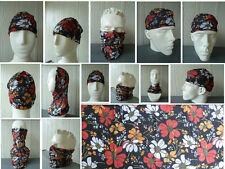 'FLOWERS' Head/Face/Mask/Neck Multi-wear tube Bandana/Durag. SPF5, Scarf/Wrap.
