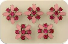 2 Hole Slider Beads QTY 5 Pink X Flowers with Fuchsia Swarovski Crystal Elements