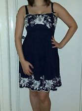 New Look navy and white rose dress. Size 12.