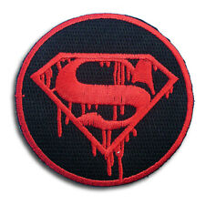 Superman Blood Logo Emblem Superhero Death Patch  Iron on Embroidered Zombie V2