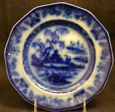 Dark Blue Staffordshire Flow Blue Chinese Asian Scene Beauties of China
