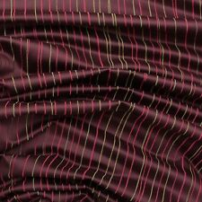 Aubergine Purple Pink & Lime Green Embroidered Stripe Curtain Furnishings Fabric