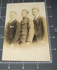 WWI Army Soldier Men Uniform Military Worcester MA RPPC Vintage Gay Int PHOTO