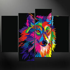 ABSTRACT WOLF SPLIT CANVAS WALL ART PICTURES PRINTS LARGER SIZES AVAILABLE