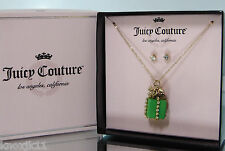 NEW Juicy Couture Gold Bow Rhinestone NECKLACE & EARRINGS Glass Birthday Charm!