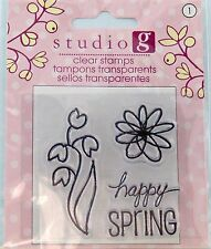 NEW STUDIO G CLEAR STAMP HAPPY SPRING FLOWERS VC0045 187