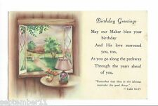 "1900's Postcard ""Birthday Greetings"" Religous Card Window Scene Table,Lamp,Vase"