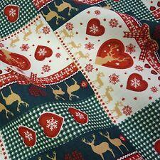 Navidad con cuadros gingham en corazón y Patchwork 100% Algodón W / Renos Y Copos De Nieve por Mtr