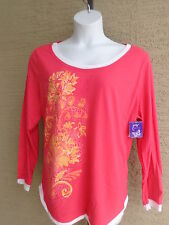 NWT Just  My Size L/S Scoop Neck Glitzy Graphic Twofer Tee Top Azalea Multi 4X