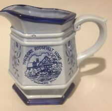 THEODORE ROOSEVELT HOME SAGAMORE HILL NY 6 SIDED BLUE CREAMER CHINA HEXAGON