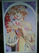 """Unique """"Flowers"""" large canvas print on wooden frame Alphonse Mucha"""