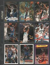 LARRY JOHNSON ~ Lot of (9) Different Basketball Cards w/ Display Sheet ~ (L15)