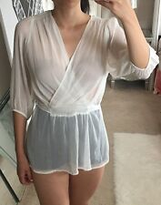 Express Off White Cream Faux Silk Sheer Surplice V Neck Wrap Top Blouse Shirt S