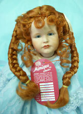 Monique - RUBY Doll Wig Size 8-9 CARROT - Long PIGTAIL BRAIDS & Curly Tendrils