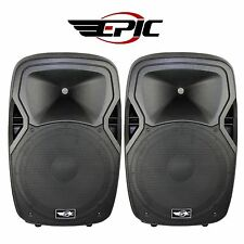 "2 Units Epic EL215A 15"" High Powered 1200W DJ PA Pro Speakers BT/USB/SD+Remote"