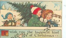 MERRY CHRISTMAS CHILDREN DECORATING OUTSIDE XMAS TREE REPRODUCTION (X-5)