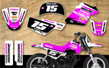 YAMAHA PW50 MOTOCROSS MX GRAPHICS DECAL KIT PEEWEE 50 PINK / WHITE