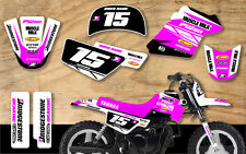 Yamaha Pw50 Motocross Mx gráficos calcomanía Kit Peewee 50 Rosa / Blanco