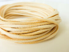 5 Metres x 3mm Ivory Chamois Cream Faux Imitation Suede Cord Thong Lace Necklace