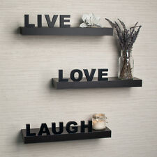 "Danya B™ Decorative ""Live"" ""Love"" ""Laugh"" Black Wall Shelves (Set of 3) YU075"