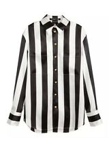BALMAIN x H&M Womens Black+White Silk Striped Long-Sleeve Blouse Shirt 6 NEW