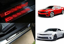 LED Light Guard Scuff Stainless Door Sill Plate Cover For Chevrolet Camaro 10-15