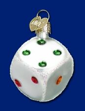 DICE MULTI-COLORED OLD WORLD CHRISTMAS GLASS GAMBLING LAS VEGAS ORNAMENT 44026