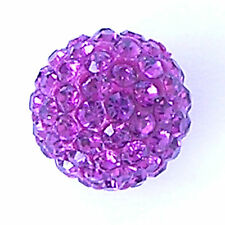 2 Rhinestone clay pave 10mm beads for Shamballa Bracelets - Fuchsia - G262