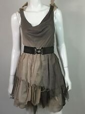 Alice + Olivia Women's Beige Taupe Tiered Skirt Belted Waist Sleeveless Dress S