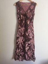 Monsoon Dress Size 12 Brown Pink silk Blend