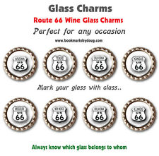 Eight Wine Glass Charms Route 66 Themed with Each State Shield Always Know Yours
