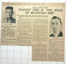 1942 Thomas Fitzpatrick Thomas Manson Hero On Munition Ship