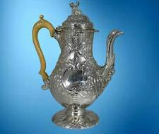 A  MAGNIFICENT GEORGE III, REGENCY, STERLING SILVER COFFEE POT, CHINA-MAN