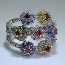 Ladies New Multi Sapphire 18KT Gold Filled Jewellery Wedding Gift Ring Size 9-S