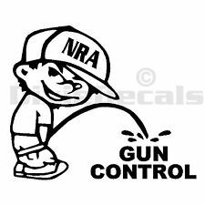 "6"" NRA Calvin Pee Piss on Socialist Anti Gun Control Vinyl Decal Window Sticker"