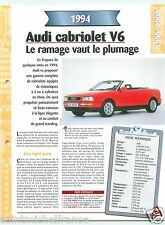 Audi Cabriolet 2.8 E  V6 1994 Germany Car Auto Voiture FICHE FRANCE