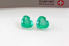 3.68 TCW Heart Shape Matched Pair Natural Colombian Emeralds Loose Gemstones