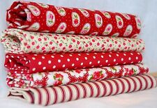 5 HALF FAT QUARTER bundle red Floral cotton fabric vintage style Christmas