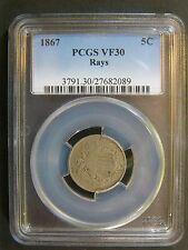 1867 Shield Nickel with Rays PCGS VF 30 Cert# 27682089