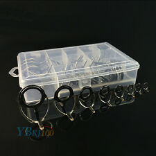 75Pcs Alloy Fishing Rod Guide Guides Tip Set Repair Kit DIY Oval Eye Ring w/Box