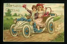 Children Vintage postcard Birthday Greetings car auto embossed gold trim
