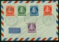 GERMANY BERLIN 1954, Bell set except lowest value (Sc. 9N95-8) tied on cover, VF