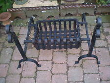 VINTAGE 1930'S FRENCH CAST IRON FIRE GRATE,BASKET ON FIRE DOGS