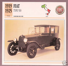 1919-1925 Fiat Type 510 Italy Car Photo Spec Sheet Info Stat French Atlas Card