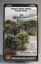 WOODLAND SCENICS MIXED GREEN COLORS 14 TREES o gauge train land WDS 1572 NEW